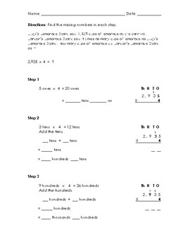 4-Digit by 1-Digit Multiplication Word Problem Worksheet (Answer Key Included)
