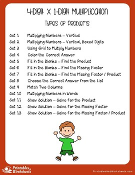 Multiplying 4-Digit by 1-Digit, Multiplication Worksheets With Answer Keys