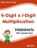 Multiplying 4-Digit by 1-Digit Worksheets With Answer Keys