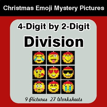 4-Digit by 2-Digit Division - Christmas EMOJI Color-By-Number Mystery Pictures