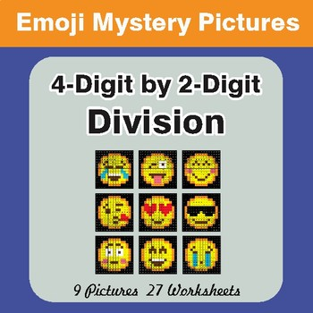 4-Digit by 2-Digit Division Color-By-Number EMOJI Math Mystery Pictures