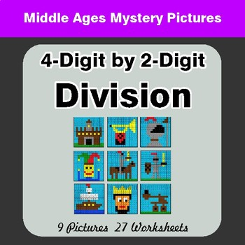 4-Digit by 2-Digit Division - Color-By-Number Math Mystery Pictures
