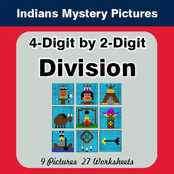 4-Digit by 2-Digit Division - Color-By-Number Math Mystery Pictures - Indians Theme