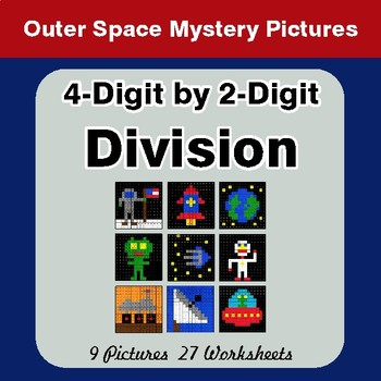 4-Digit by 2-Digit Division - Color-By-Number Math Mystery Pictures - Space theme