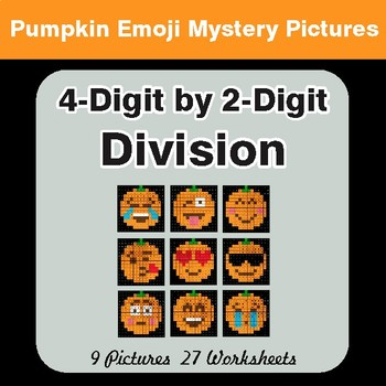 4-Digit by 2-Digit Division - Color-By-Number PUMPKIN EMOJI Math Mystery Pictures