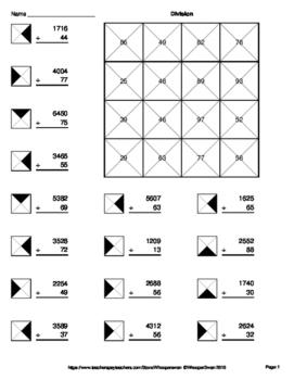 4-Digit by 2-Digit Division - Coloring Worksheets