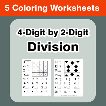 4-Digit by 2-Digit Division - Coloring Worksheets