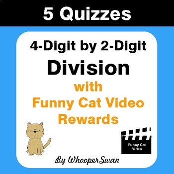 4-Digit by 2-Digit Division Quizzes with Funny Cat Video Rewards