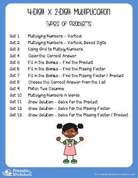 Multiply 4-Digit by 2-Digit Multiplication Worksheets With Answer Keys