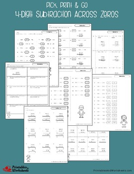 4 Digit Subtraction Across Zeros Worksheets With Answer Keys
