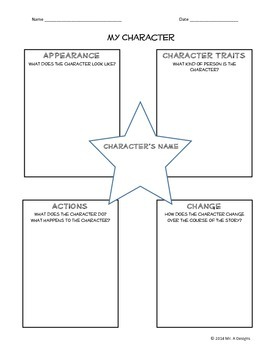 4 Dimensional Character Graphic Organizer