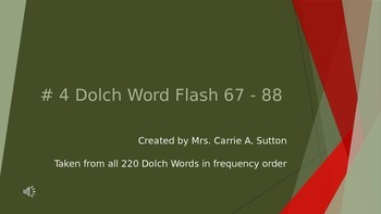 #4 Dolch Word Flash 67 - 88 PowerPoint Slideshow