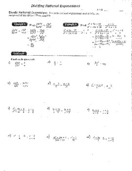 4 Double Sided Rational Expressions Worksheets Dividing Mu