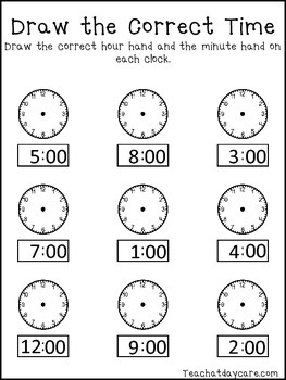 4 Draw the Correct Time No Prep Worksheets
