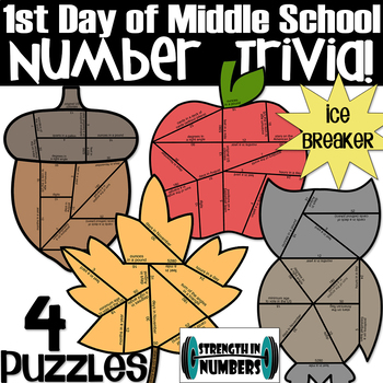4 FALL Puzzles - Number Trivia - First Day of School Ice Breaker
