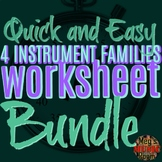 4 FAMILIES OF INSTRUMENTS - ORCHESTRA WORKSHEET BUNDLE - ELEM MUSIC - USE 4 SUB!