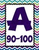 4 FOOT Grade Scale POSTER ~ Jewel-Toned Chevron - 10 Point Scale