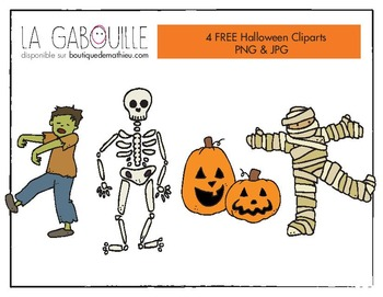4 FREE CLIPARTS HALLOWEEN - 4 Cliparts gratuits pour l'Halloween