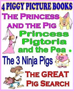 4 FUNNY PIGGY PICTURE BOOKS including Princess Pigtoria and the Pea!