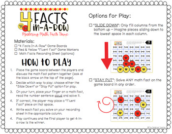 4 Facts In-a-Row Math Fact Fluency Game {ADDITION WITHIN 20}