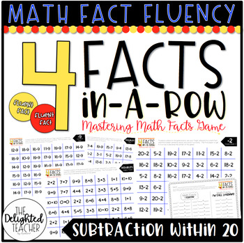4 Facts In-a-Row Math Facts Fluency Game {SUBTRACTION WITHIN 20}