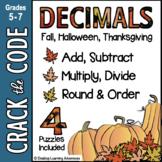 Fall Math : Decimal Computation Practice - 4 Crack the Codes!