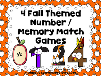 4 Fall Themed Number / Memory Match Games