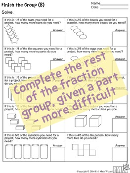 4 Finish the Fraction Think Sheets - Shapes and Groups/Sets