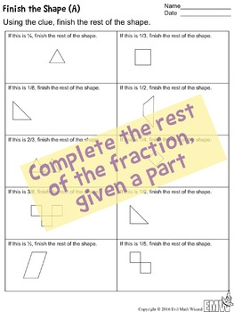 finish the fraction worksheets shapes and groupssets by evil math   finish the fraction worksheets shapes and groupssets by evil math wizard