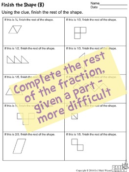 4 Finish the Fraction Worksheets Shapes and Groups/Sets