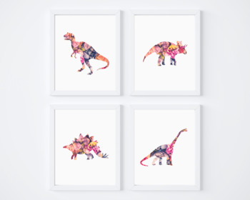 4 Floral Dinosaur Printable Posters