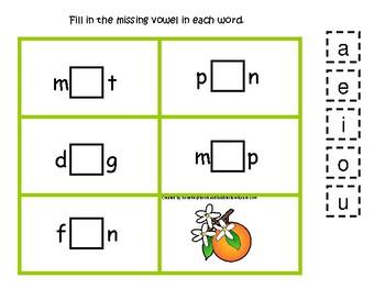 4 Florida State Symbols themed CVC Games.  Printable Preschool Game