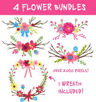 4 Flower Bundle Set 1 Flower Wreath Included