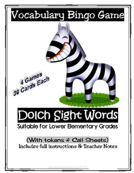 4 Full Dolch Word Vocabulary Printable Bingo Games, with Answer Key & Tokens