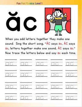 #4 Fun Fun Phonics (20 pages Cc, Aa, ca, ac) Complete Answer Key