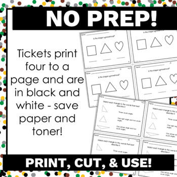 4th Grade Math Exit Tickets for Every Geometry Standard