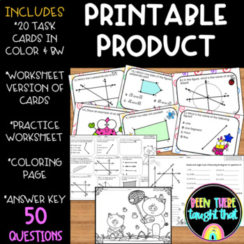 4.G.1 Draw and Identify Lines and Angles Task Cards, Worksheets & Coloring Page