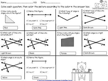 Draw and Identify Lines and Angles Task Cards, Worksheets & Coloring Page