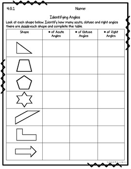 4.G.1 Draw and Identify Lines and Angles Worksheets, Task Cards, & Assessment