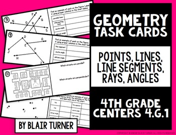 Geometry Task Cards: 4th Grade Math Centers 4.G.1