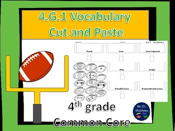 """4.G.1 Vocabulary """"Cut and Paste"""" Football"""