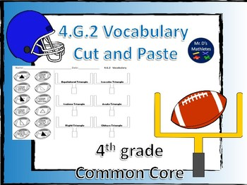 4.G.2 Football Vocabulary 4th grade