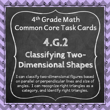 4.G.2 Task Cards: Classifying Two-Dimensional Shapes (Four