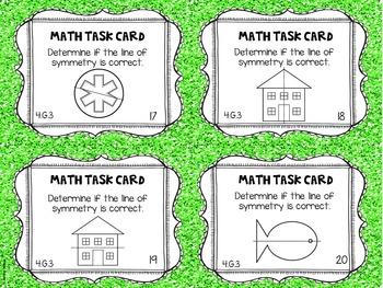 4.G.3 4th Grade Math Task Cards (Symmetry)