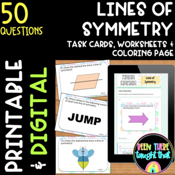 4.G.3 Lines of Symmetry Task Cards, Worksheets and Coloring Page