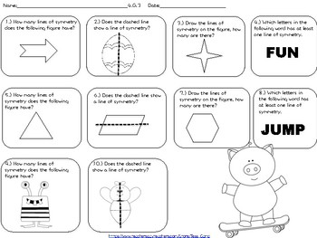 Lines of Symmetry Task Cards, Worksheets and Coloring Page
