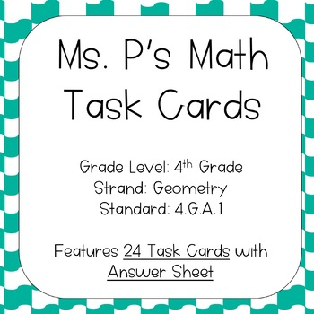 4.G.A.1 Draw/Identify Lines, Angles, etc. Task Cards