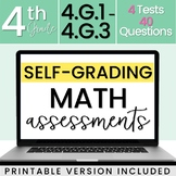 SELF-GRADING 4th Grade Math Tests: Geometry