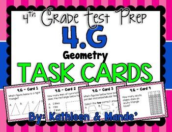 4.G Test Prep Task Cards {Geometry 4.G.1-3}