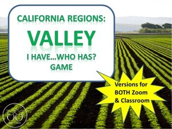 California Regions : Desert Coast Mountain Valley I Have Who Has? 4 Games